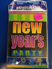 Neon New Year Holiday New Year's Eve Bash Cocktail Party Invitations w/Envelopes