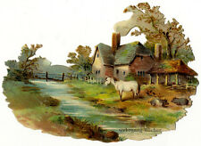 Vintage Victorian die cut paper scrap, countryside scene from ca. 1876.