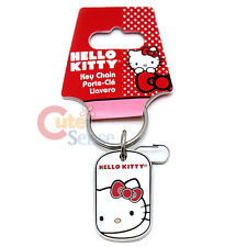 Sanrio Hello Kitty Metal Key Chain Oval Rectangle with Big Kitty Face