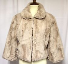 Colin`s She Women Ivory Faux Fur Bolero 3/4 Sleeve Jacket Coat Cardigan L #482