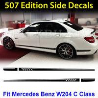 AMG Edition C63 507 Side Stripe Decals Stickers Mercedes Benz C Class W204 Black