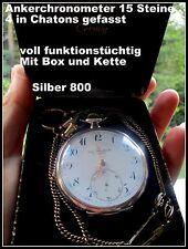 Cortebert  TASCHENUHR 1900 Box+Kette Schweiz 15 Steine Ankerchronometer 800