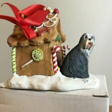 Bearded Collie Christmas Ornament Gingerbread Doghouse Ornament Gray Dog New