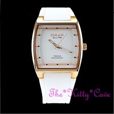 OMAX Slim Rose Gold Pl Sporty Seiko Movt White Unisex Watch 4 Year Warranty D006