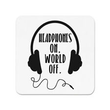 Headphones On World Off Fridge Magnet - Music DJ Funny