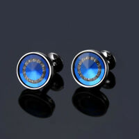 Luxury Crystal Cufflinks Mens Blue Black Shirt Cuff Links Wedding Party