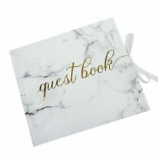 White Scripted Marble Gold Wedding Guest Book Hardback - 7702990