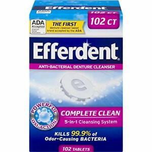 Efferdent Denture Cleaner 5-in-1 Antibacterial Dental Cleanser Stain 102 Tablets
