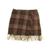 POLO RALPH LAUREN Women's Fringe-trim Plaid Wool Blend Wrap Skirt TEDO