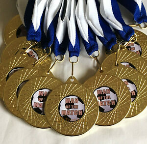 10 x Man of the Match Medals with Blue & White Ribbons, Gold Football Medals