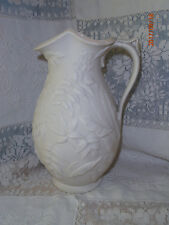 Antique Vtg Parian Ware Jug Tj & J Mayer Pitcher 2 Quart Large Foliage Dale Hall