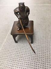 Bronze sur socle chine chinois guerrier sculpture sabre
