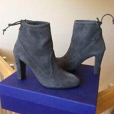 Stuart Weitzman Women's PERFECTION boots booties gray suede pull on Sz 6 NIB