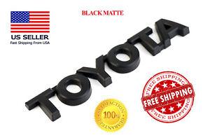 1x Toyota Black Matte Trunk Emblem Badge Decal Logo Rear Camry Corolla Prius