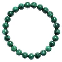 CHARGED Natural Malachite Crystal 8mm Bead Stretchy Bracelet + Selenite Heart