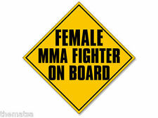 "FEMALE MMA FIGHTER ON BOARD  5"" HELMET CAR BUMPER DECAL STICKER MADE IN USA"