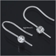 Sterling Silver CZ French Hook Ear Wire Earring Connector with Pin #51849