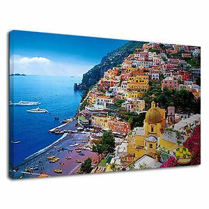 AMALFI COAST ITALY SUMMER BEACH HOLIDAY CANVAS WALL ART PICTURE  AZ554 MATAGA