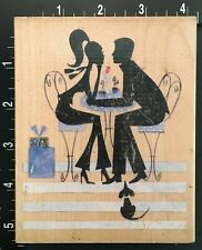 Cafe Couple Dating In Love Dog Watching Stamps Happen Wood Mounted Rubber Stamp