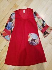 Mignone Boutique Mod Retro Dress Red Corduroy & sheer print Size 6