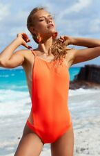 NWT $180 FELLA One-Piece Mesh Swimsuit - Electric Coral - Sz S