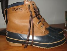 SPORTO leather upper DUCK BOOTS classic tan navy thermal lined steel shank Wm 9