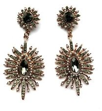 Stunning Gold & Grey Sparkly Crystal Long Spikey Dangle Stud Earrings