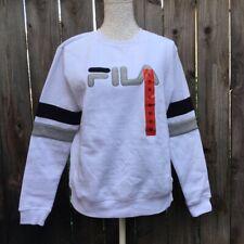 Fila Womens Sweatshirt White Gray Crew Neck Long Sleeves Pullover M New