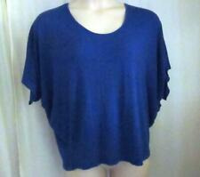 Plus Size 2X Alter Ego Knit Top Royal Blue Polyester Blend Batwing Sleeves