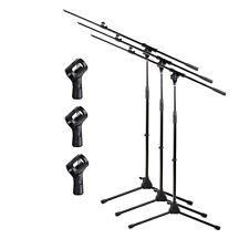 3 Pack Microphone Boom Stand Telescoping Boom Tripod Studio Stage Mic MA