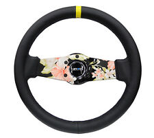 NRG RST-021R-SUN-Y Reinforced Leather Steering Wheel 310mm Floral Dipped Sokes