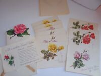 18 Vintage Gibson Letter-ettes with Roses Thank You Notes w Envelopes UNUSED