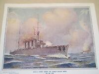 VINTAGE PRINT HMAS. SYDNEY SINKING GERMANY'S EMDEN 1914- 100 years ago in Nov.