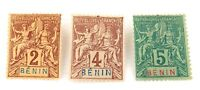 .BENIN, FRENCH AFRICAN COLONY c1894 3 MH NICE GRADE STAMPS.