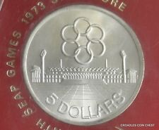 """1973 SINGAPORE CASED LARGE $5 DOLLAR UNCIRCULATED """"SEAP"""" GAMES SILVER TONING"""