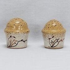 Handmade Speckled Pottery Salt Pepper Shaker Fall Autumn Decor Hand Painted Leaf