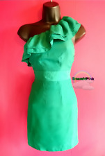 FOREVER 21 Emerald green one shoulder ruffle dress sz-M    (party/mini/summer)