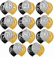 """6 Black Silver Gold 11"""" Balloons Helium or Air Happy Birthday Party Decorations"""