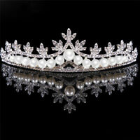 Rhinestone Tiara Hair Band Bridal Pearl Princess Prom Crown Headband Wedding^
