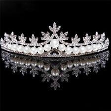 Rhinestone Tiara Hair Band Bridal Pearl Princess Prom Crown Headband