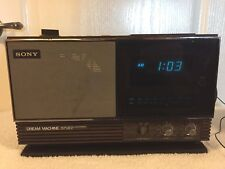 1979 Vintage Sony Dream Machine Icf-C23W Fm Alarm Digital Clock Radio Wood