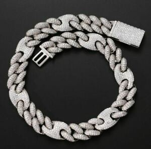 Moissanite White Gold Plated Ice Cuban Bracelet in Hip Hop Style VVS1 20mm