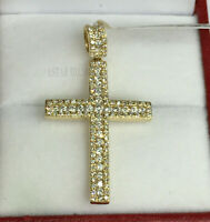 2Ct Round Cut VVS1/D Diamond Cross Pendant 14K Yellow Gold Finish