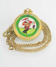 TL Co Womens Santa Football Stainless Gold Musical Quartz Battery Necklace Watch