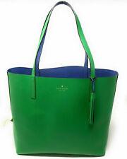 NWT Kate Spade Lakeland Marina Reversible Green/ Blue Leather Tote WKRU5342 $299
