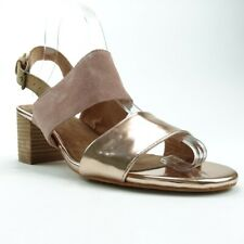 Toms Womens Poppy Ankle Strap Sandals Brown Med Block Heel Suede Buckle 8 New