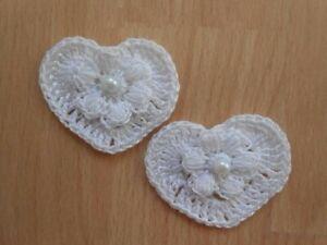 coeurs fleur blanc en coton au crochet fait main