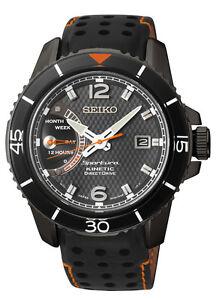 Seiko SRG021 SRG021P1 Mens Sportura Kinetic Direct Drive Watch BLACK RRP $995.00
