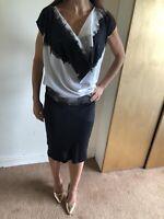 Religion Black And White Drape Dress Tie Dye Size 10
