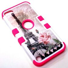 For iPod Touch 5th 6th Eiffel Tower Paris Pink Rose Rubber Hybrid ArmorSkin Case